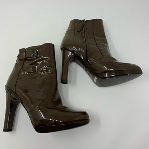 FENDI brown patent leather ankle booties